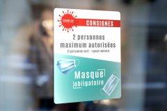 Adhésifs prévention COVID-19 masques obligatoire